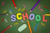 Letters met potloden, paperclips, door een gum — Stockfoto