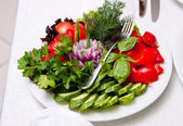 Dish with various green-stuffs — Stock Photo
