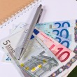 Euro money in notebook — Stock Photo