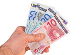 Euro money on white — Stock Photo