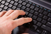 Hand on the keyboard of computer — Foto Stock