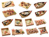 Sets of sushi with the different types of seafood — Stock Photo