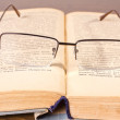 Stock Photo: Glasses lying on retro book