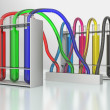 Stockfoto: Tubes with color liquid on white background