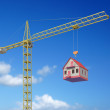 Crane with a house — Stockfoto