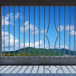 Prison windows wirh broken bar — Stock Photo