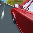 Red car on the road - Stock Photo