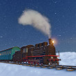 Locomotive at the night background — Stock Photo