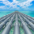 Stock Photo: Pipeline in sea