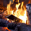 ������, ������: Fire wood burns in a fireplace
