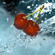 water on cherries — Stock Photo