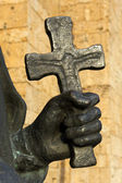 Hand and cross — Stock Photo