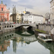 图库照片: Picture of Ljubljantown center and river