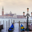 View of San Giorgio maggiore with gondolas. From San marco — Stock Photo