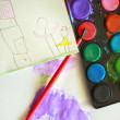 Child's drawing - home and family	Child's drawing - home and fam — Stock Photo #41670787