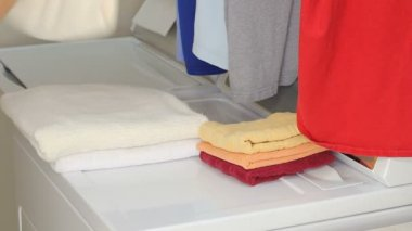 Hands of a Man Folding Laundry — Vídeo de stock