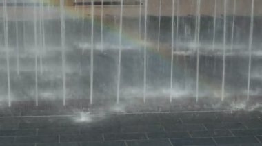 Wet and Beautiful Rainbow in Water Jets — Vídeo de stock