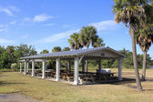 Covered Picnic Tables — Stock Photo