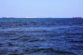 Many Cargo Ships on the Atlantic Ocean — Stock Photo