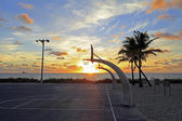 Sunrise Over Basketball Courts — Stock Photo