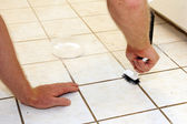 Cleaning Grout — Stock Photo