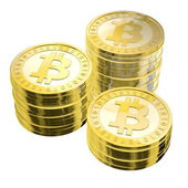Tre pile di bitcoins — Foto Stock