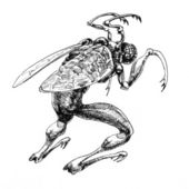 Sketchy drawing of a fantasy monster. — Stock Photo