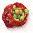 Ripe pears in a red plastic bag. — Stock Photo #29427375