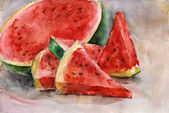 Watercolor watermelon. — Stockfoto