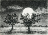 Night scene, two trees are lit by moonlight, charcoal drawing art. — Stock Photo
