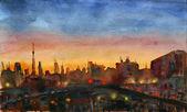 City sunset. — Stock Photo
