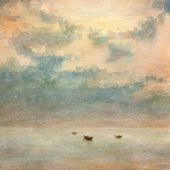 Boats in the calm sea and some clouds in the sky. — Stock Photo