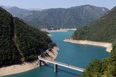 Bridge and Piva lake — Stock Photo
