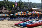 Kayaks on the beach — Stockfoto