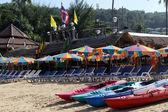Kayaks on the beach — Foto de Stock