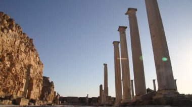 Ruins and marble columns — Stock Video