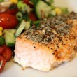 Salmon Steak with Salad — Stock Photo