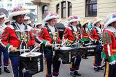 Musicians at carnival street parade — Stock Photo
