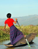 Fishermen on lake Inle — Stock Photo