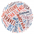 Stock Photo: Travel info-text graphics and arrangement concept (word cloud)