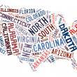 USA puzzle of words by States of the United States of America — Stockfoto