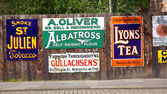 Antique Advertising Boards — Stock Photo