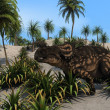 Einiosaurus in sandy jungle - Stock Photo