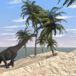 Brachiosaurus on shore — Stock Photo