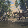 Utahraptor on shore — 图库照片