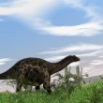 Dicraeosaurus walking on hill — Stock Photo #12172598