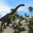 Stock Photo: Brachiosaurus walking