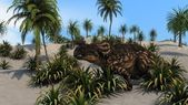 Einiosaurus in sandy jungle — Stock Photo