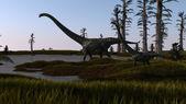 Brachiosaurus in lake — Stock Photo