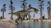 Monolophosaurus  on lake shore — Stock Photo